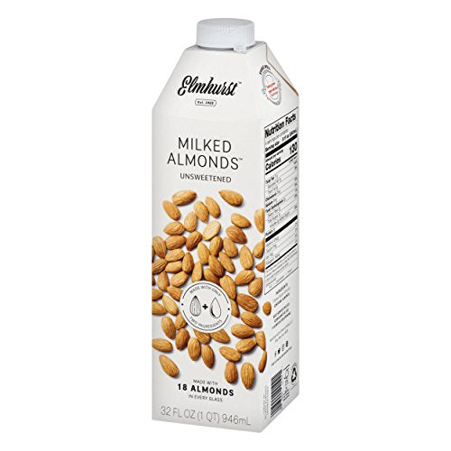 Elmhurst Milked - Unsweetened Almond Milk - 32 Fluid Ounces (Pack of 6) Only 2 Ingredients, 4X the Protein, Non Dairy, Keto Friendly, No Added Sugar, Vegan