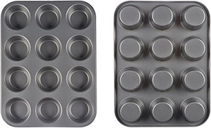 AmazonBasics Nonstick Carbon Steel Muffin Pan - 2-Pack