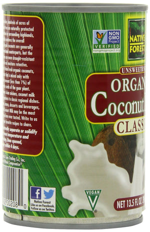 Native Forest Coconut Milk, Organic Unsweetened, 13.5-Ounce (Pack of 6)