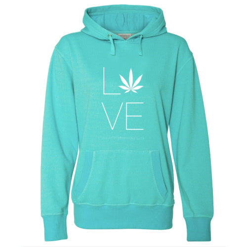 Love Hemp Women's French Terry Pullover Hoodie - Turquoise