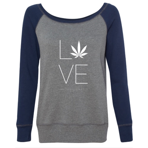 Love Hemp Women's Wideneck Sweatshirt - Deep Heather Grey/Navy
