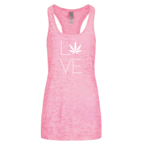 Love Hemp Womens Racerback Burnout Tank Top - Neon Pink