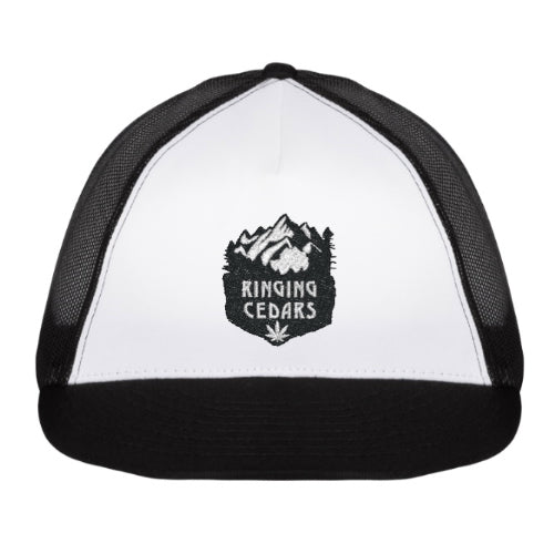 Ringing Cedars Hemp Leaf Trucker Hat - Black/White