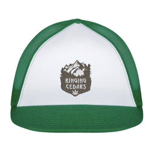 Ringing Cedars Hemp Leaf Trucker Hat - Green/White