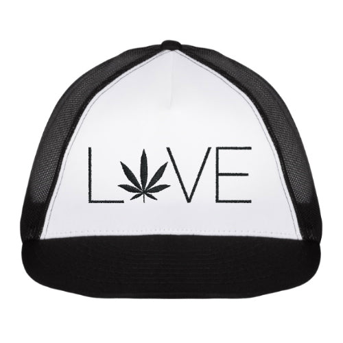 Love Hemp Trucker Hat - Black/White