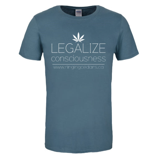 Legalize Consciousness Short Sleeve T-Shirt Mens/Unisex - Indigo Blue