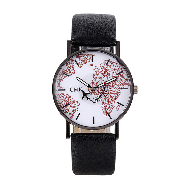 2018 New Arrivals Aircraft Pointer Watch World Map Watch Leather
