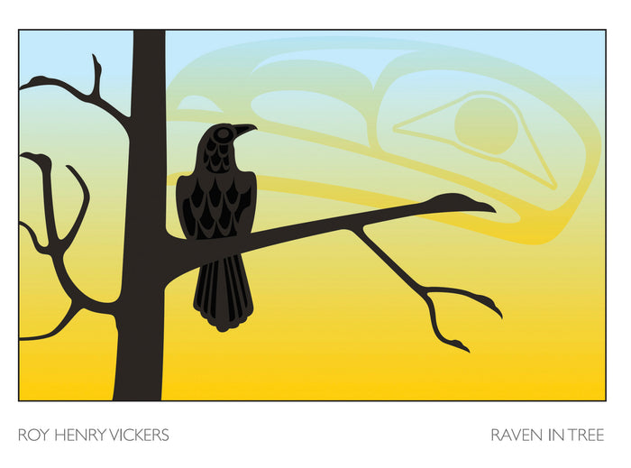 RAVEN IN TREE - ART CARD