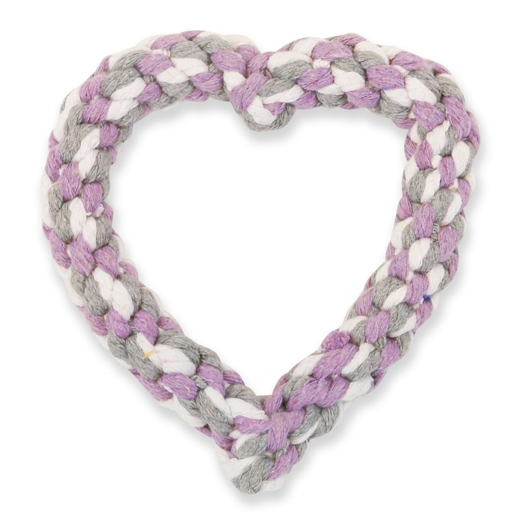 VP Pets Heart Rope Toy - White/Purple/Grey - Vanderpump Pets