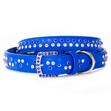 VP Pets Diamond Choker Leatherette Collar - Blue - Vanderpump Pets