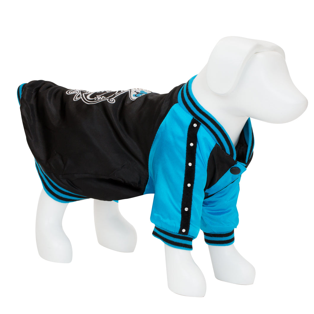 F&R for VP Pets Satin Baseball Jacket - Black/Blue - Vanderpump Pets