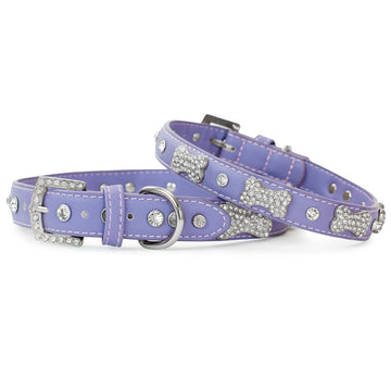 VP Pets Designer Diamond and Bone Leatherette Collar - Violet - Vanderpump Pets