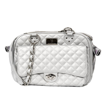 Vanderpump Classic Quilted Luxury Pet Carrier with chain - Silver - Vanderpump Pets