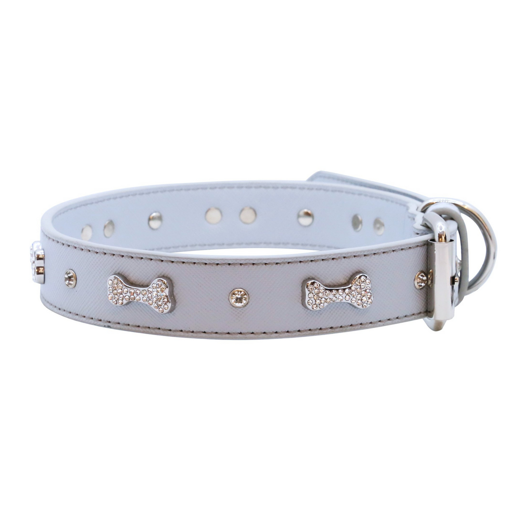 VP Pets Designer Diamond and Bone Leatherette Collar - Grey