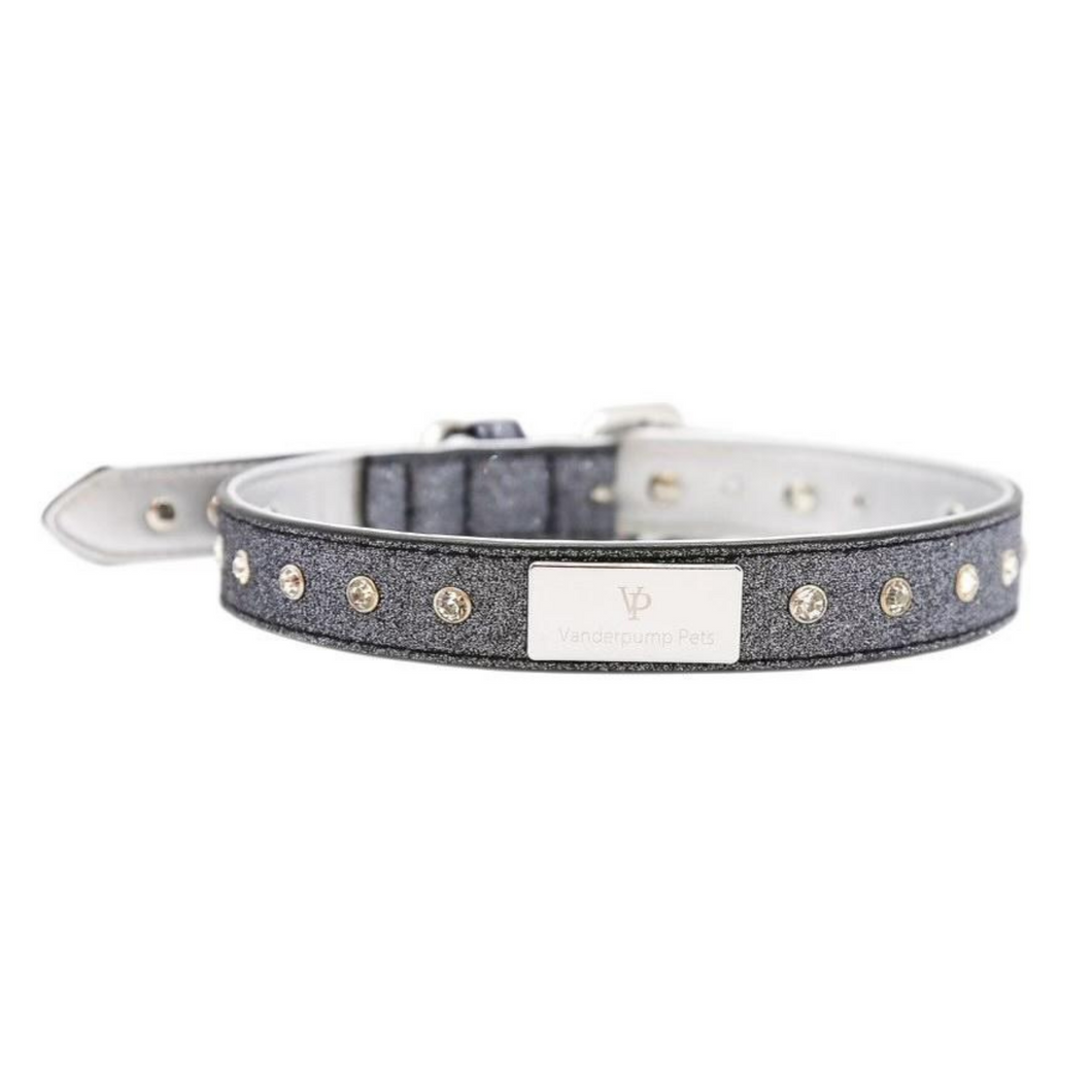 VP Pets Signature Diamond Name Plate Leatherette Collar – Silver - Vanderpump Pets