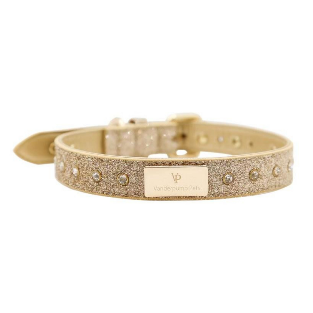 VP Pets Signature Diamond Name Plate Leatherette Collar – Gold