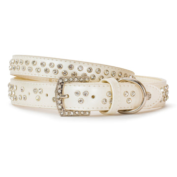VP Pets Diamond Choker Leatherette Collar - White - Vanderpump Pets