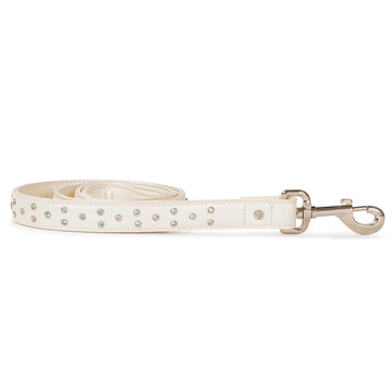 VP Pets Diamond Choker Leatherette Leash - White - Vanderpump Pets