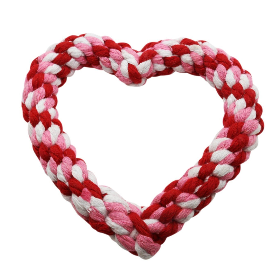 VP Pets Heart Rope Toy - White/Pink/Red - Vanderpump Pets