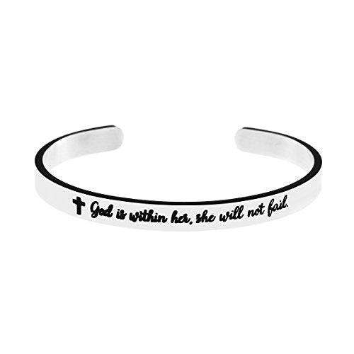 Yiyang Cuff Bracelet for Girl Christian Bangle Jewelry God Within Her She will Not Fail