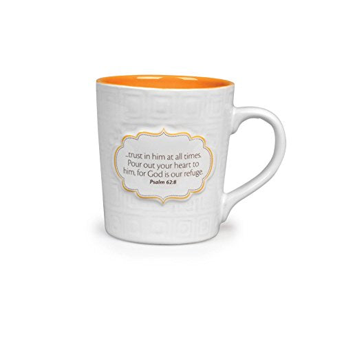 Lighthouse Christian Products Pattern of Praise Trust Him at All Times Ceramic Mug, 14 oz