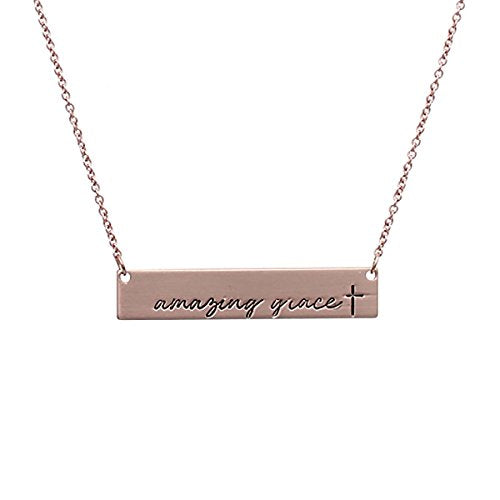 MYS Collection Riah Fashion Women's Message Bar Necklace (Amazing Grace - Rose Gold)