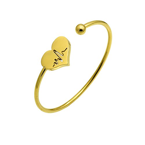Expandable Adjustable Religion Bible Verse Bangle Bracelets Jewelry Gift for Christian Friend (electrocardiogram(gold))