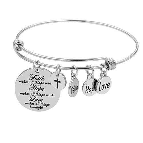 Faith Bracelet for Christian Expandable Wire Bangle Jewelry Gift (Faith hope love)