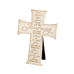 "Lighthouse Christian Products Journey Wall/Desktop Cross, 3 3/4 x 5"", Cream/Gold"