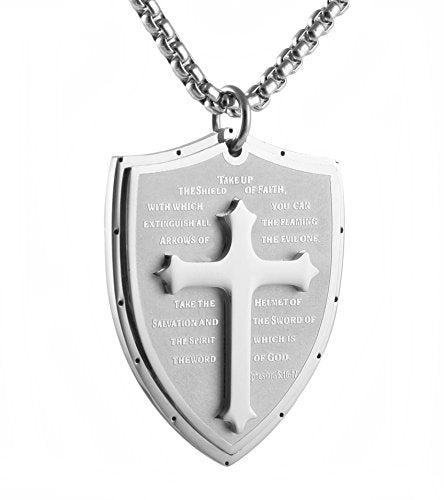 HZMAN Shield Armor of God Ephesians 6:16-17 Faith (Cross) Stainless Steel Pendant Necklace (Silver)