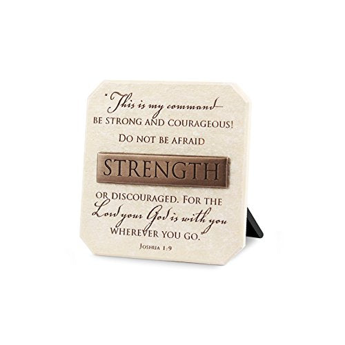 Lighthouse Christian Products Strength Title Bar Plaque, 3 3/4 x 3 3/4