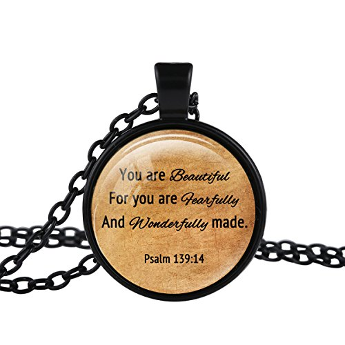 FM42 Black-tone PSALM 139:14 Christian The Bible Religious Inspirational Quote Pendant Necklace TN2491