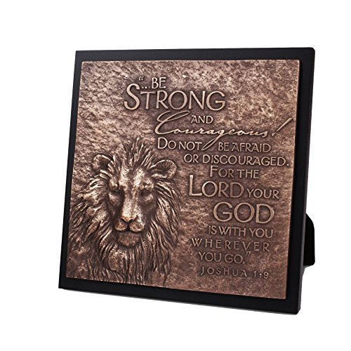 Lighthouse Christian Products Moments of Faith Lion Sculpture Plaque, 8 3/4 x 8 3/4