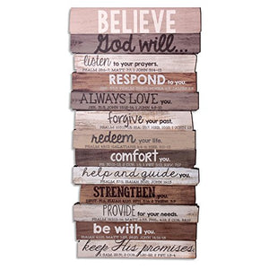 "Lighthouse Christian Products 8.5"" x 16.5"" x 1"" Believe Wall Art Plaque"