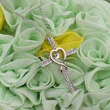 Xingzou Infinity Faith Hope Love in Heart Cross Pendant Necklace with White Heart Crystal from Swarovski