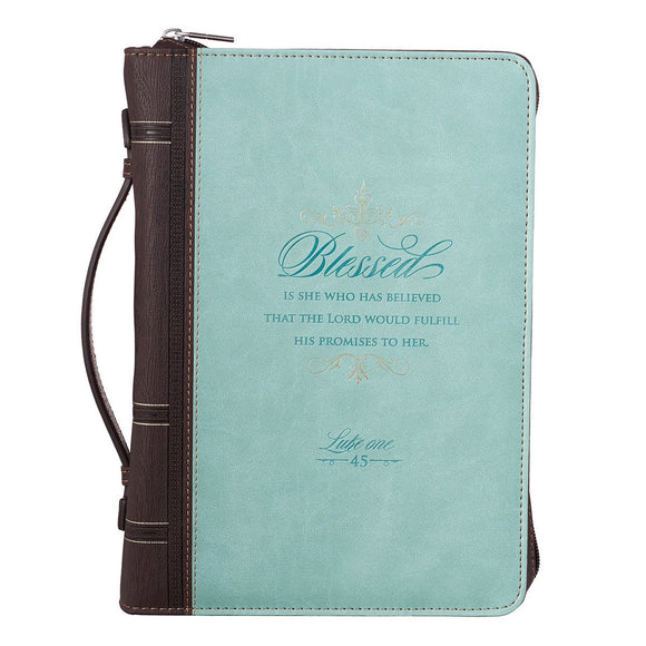 Bible Cover, Blessed Is She, Light Blue and Brown, Large