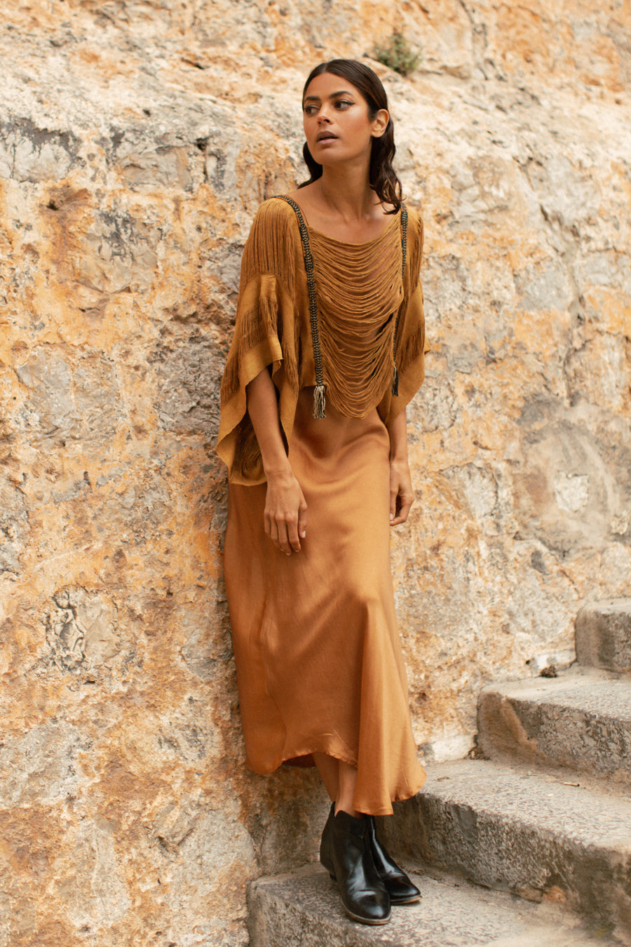 Raw Silk Shredded Top in Saffron Orange Brown Beaded