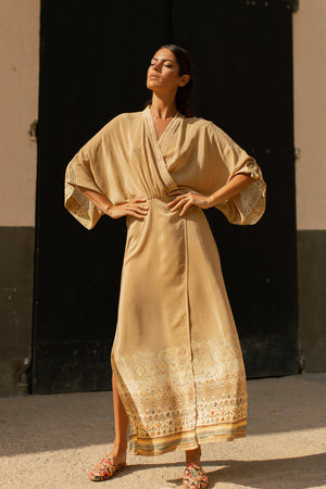 Kimono Robe Wrap Dress in Silk