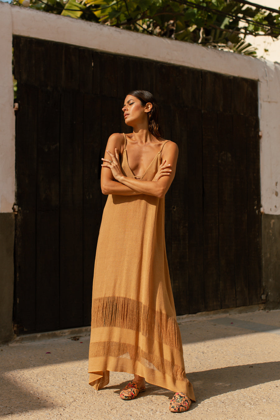 Raw Silk Summer Boho Dress in Earthy Saffron Color