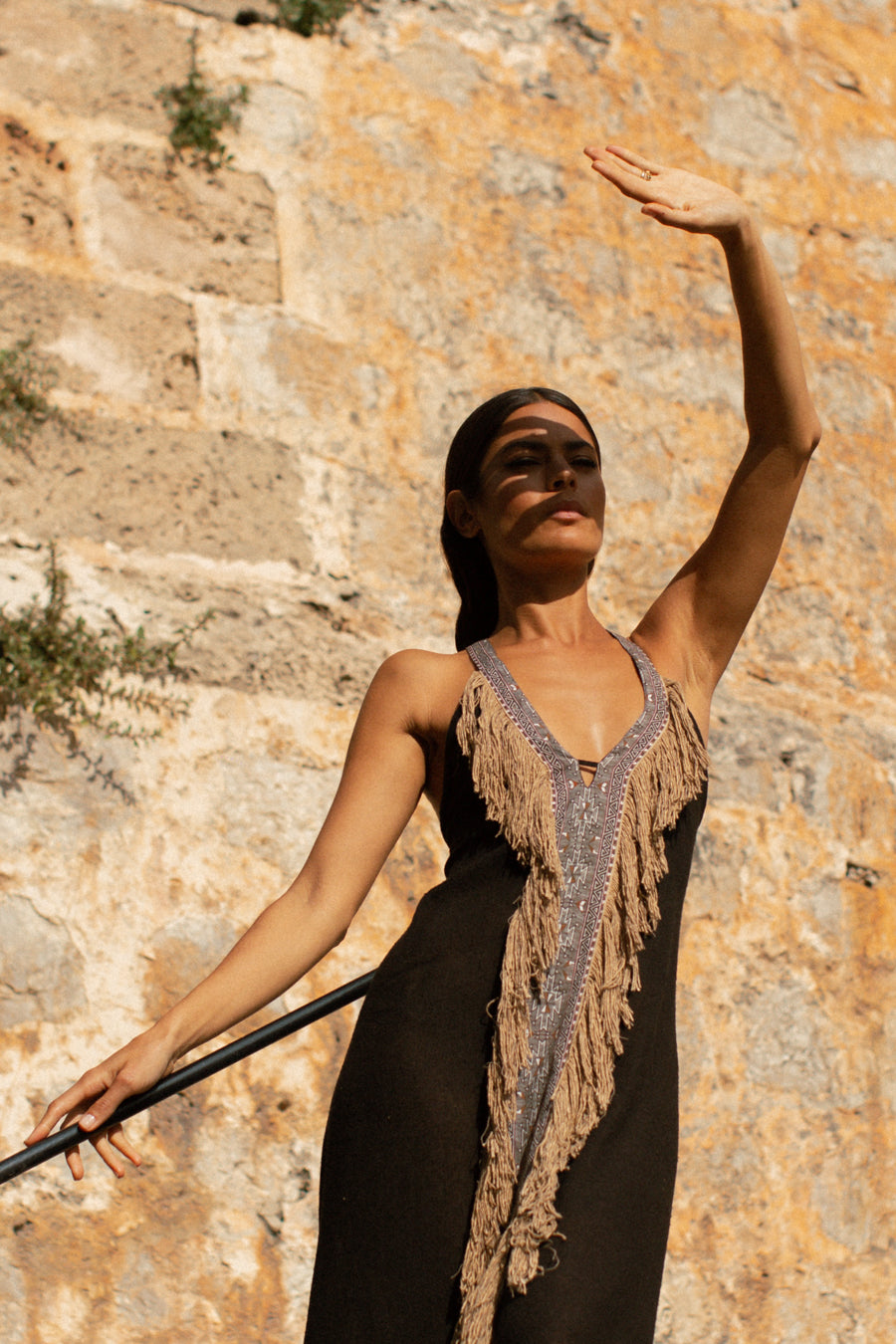 Beduin Boho Dress In Raw Silk Black With Copper Tassels
