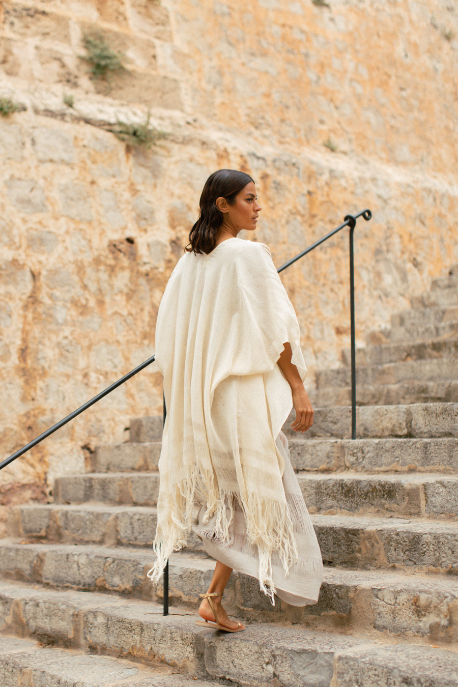 Boho Raw Silk Cape in Ivory