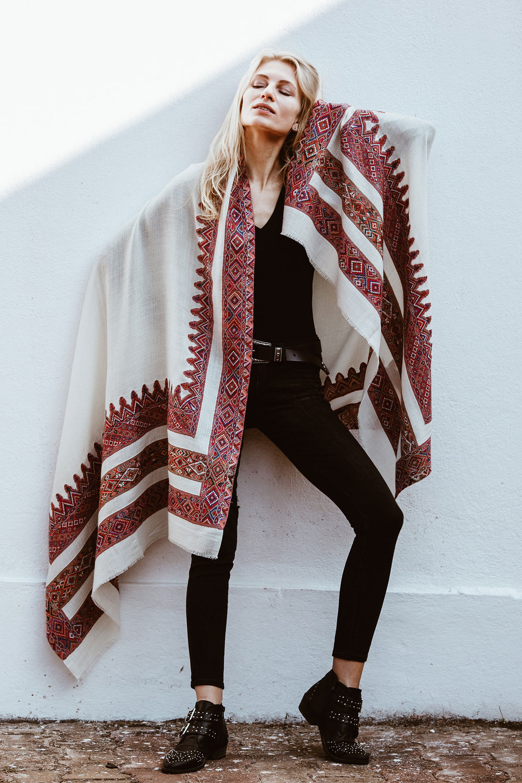 Off-White Large Wool Shawl with Colorful Embroidery