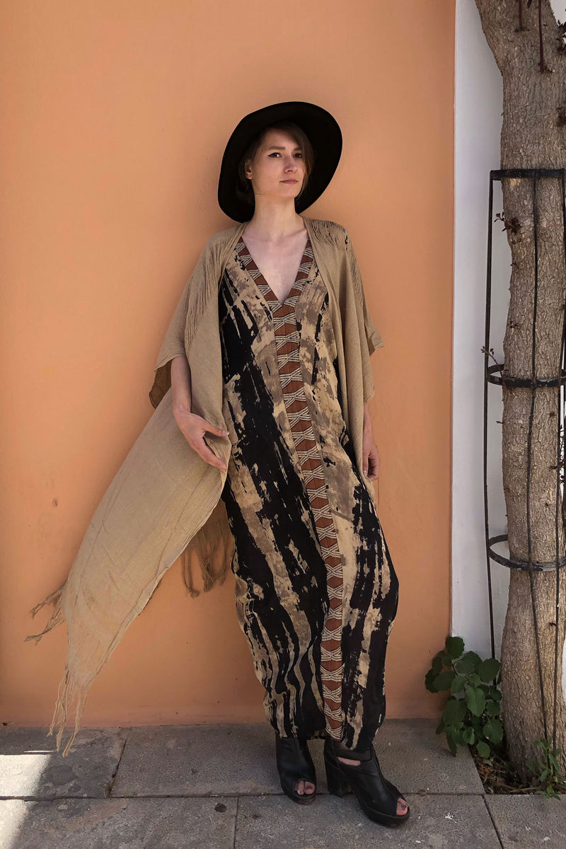 Bohemian Unisex Raw Silk Sage Duster Jacket