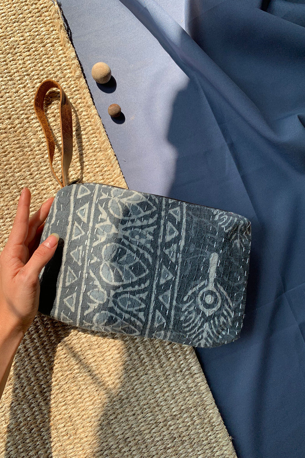 Grey Block Print Clutch Wallet