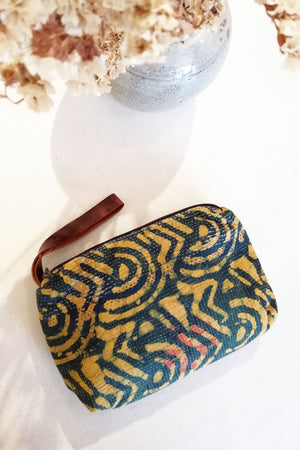 Block Print Wallet with Leather Strap