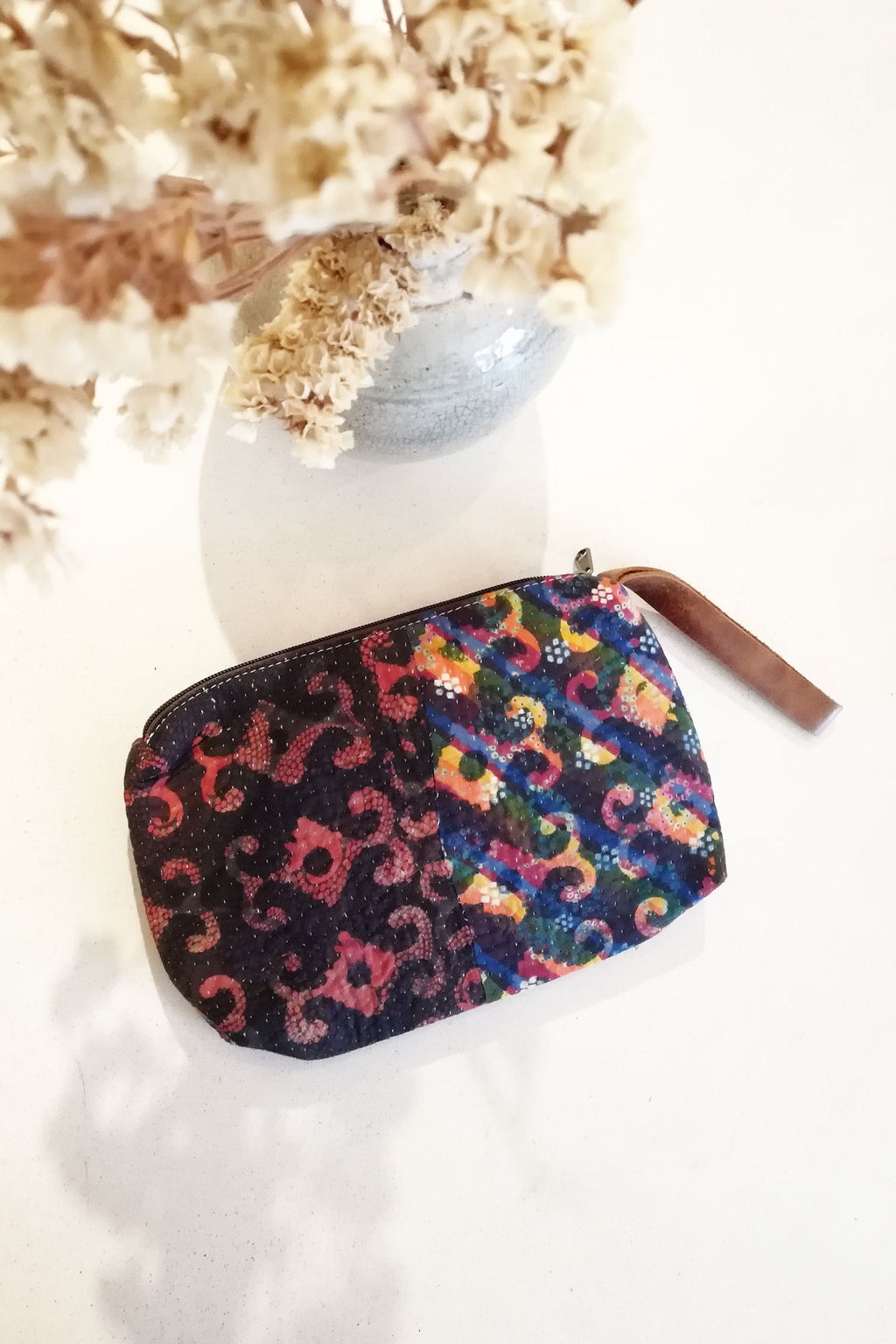 Multicolor Block Print Clutch with Leather Wrist Strap