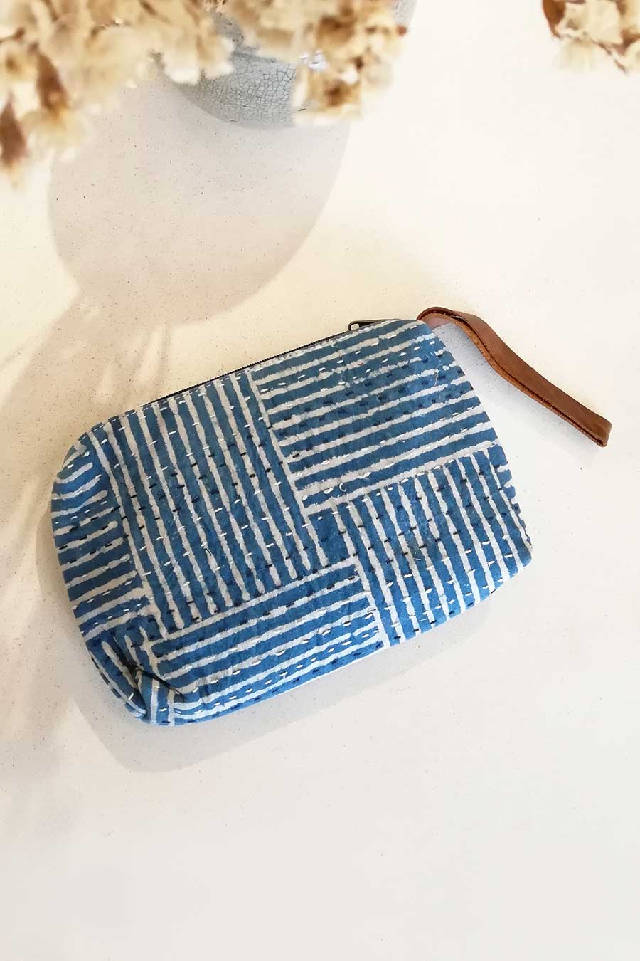 Indigo Block Print Boho Clutch Bag