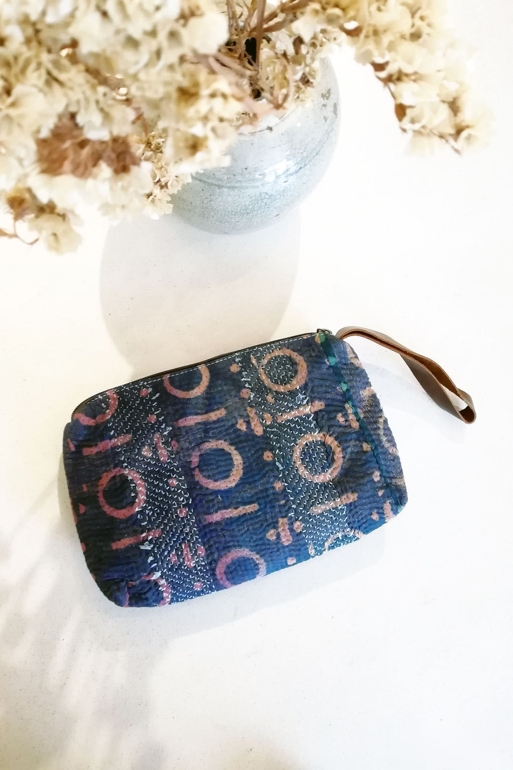 Unisex Boho Wrist Clutch in Dark Blue