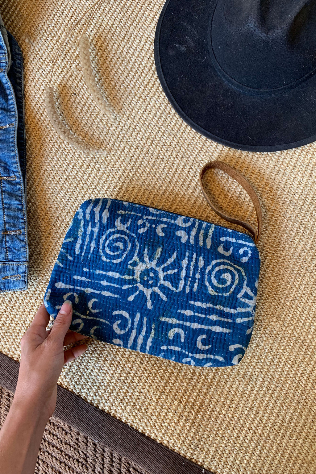 Boho Wallet Clutch in Indigo Printed Fabric