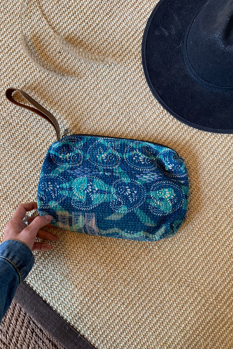 Indigo and Green Vintage Kantha Clutch with Leather Strap
